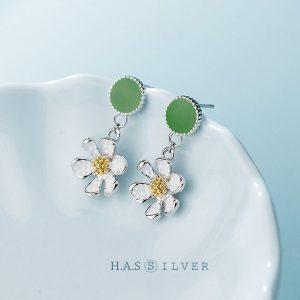 Bông Tai Green Daisy H.A.S Silver