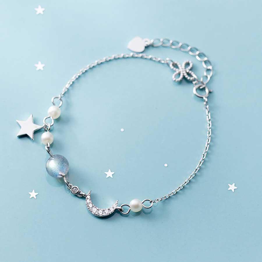Lắc tay bạc nữ dễ thương Moon Labradorite